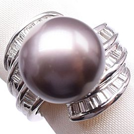 Platinum/Black pearl diamond Ring NST-386
