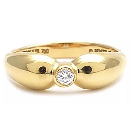 Tiffany & Co. Elsa Peretti 18K Yellow Gold Diamond Double Teardrop Ring Size 5.5