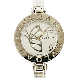 BVLGARI BZ22S Stainless Steel Butterfly White Shell Bangle Watch CHAT-491