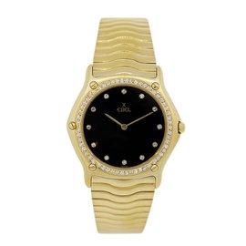 Ebel Classic Wave 18K Yellow Gold Diamond 31mm Mens Wristwatch