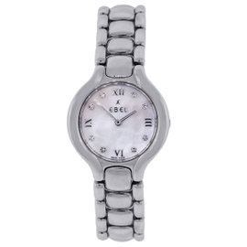 Ebel Beluga Stainless Steel Mother of Pearl Diamond Dial 26mm Womens Watch
