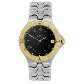 Ebel Sportwave Two Tone Stainless Steel & Gold Plated Black Dial 38mm Mens Watch