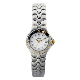 Ebel Sportwave Two Tone Stainless Steel and 18K Yellow Gold 27.5mm Womens Wristwatch
