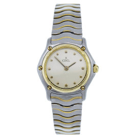 Ebel Classic Wave Two Tone Stainless Steel and 18K Yellow Gold Cream Dial 24mm Womens Watch