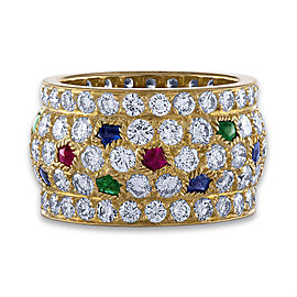Cartier Ring 18K Yellow Gold Sapphire, Emerald, Ruby, Diamond Size 5.75