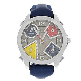 New Unisex Jacob & Co. Five 5 Time Zone JCM-57DA 40mm Steel Diamond Watch