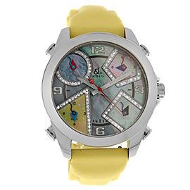 Unisex Jacob & Co. Five 5 Time Zone Watch JCM-23DA Diamond Steel 40MM MOP