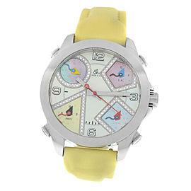 Unisex Jacob & Co. Five 5 Time Zone Watch JCM-24DA Diamond Steel 40MM MOP