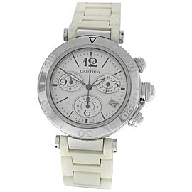 Unisex Cartier Pasha 3129 Steel Date Quartz Chronograph 38MM Watch