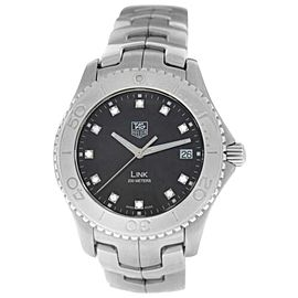 Men's Tag Heuer Link WJ1113-0 Stainless Steel Diamond Date 39MM Quartz Watch