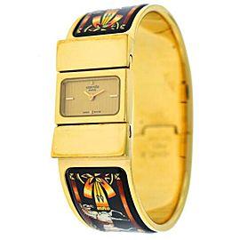 Ladies Hermes Paris Loquet L01.201 Gold Plated Bracelet Quartz 19MM Watch