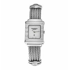 Charriol St. Tropez STRS Sterling Silver MOP Diamond 20MM Quartz Watch