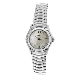 Ebel 9157F11 Quartz Steel MOP Diamond Ladies Watch 24MM $2420