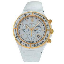 Versace DV One Gold Tone Ceramic Chrono Quartz Watch 43MM 28CCP1D001 S001