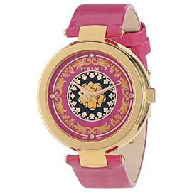 New Versace Mystique Foulard VK603 0013 Gold Tone Pink Quartz Diamond 38MM Watch