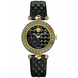 New Versace Vanitas VQM010015 Gold Electroplated Steel Quartz 30MM Watch
