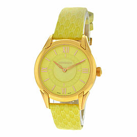 New Versace Dafne VFF05 0013 Gold Steel Lime Green Quartz 33MM Watch