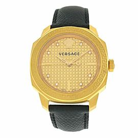 New Versace Dylos VQD03 0015 Gold IP Quartz 35MM Diamond Watch