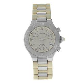 Ladies Cartier Chronoscaph Chronograph 2996 Steel 32MM Date Quartz Watch