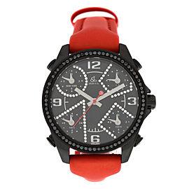 Unisex Jacob & Co. Five 5 Time Zone JCM-2BCDA 40mm PVD Diamond Bezel Watch new