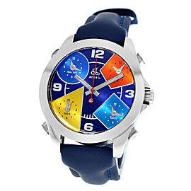 Jacob & Co. Five 5 Time Zone JCM-55 Unisex Steel Quartz Watch 40MM New