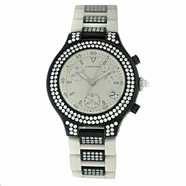 Unisex Cartier 2424 Chronoscaph 38MM PVD Steel Diamond Quartz Watch