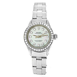 Rolex Oyster Perpetual 6516 Ladies Stainless Steel Diamond MOP 25MM Watch