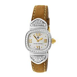Ladies David Yurman Thoroughbred Sterling Silver MOP Diamond 21MM Quartz Watch