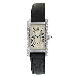 Cartier Tank Americaine 1713 Ladie's Diamond 18K White Gold Watch