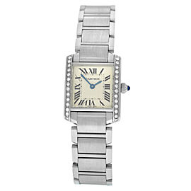 Cartier Tank Francaise 2384 Ladies' Stainless Steel Quartz 20MM Diamond Watch
