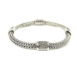 John Hardy Sterling Silver .75tcw Classic Chain 4- Station Bracelet