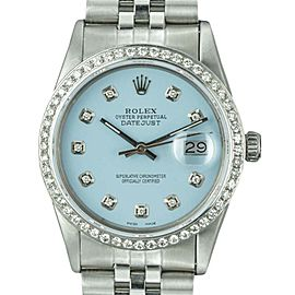 Rolex Datejust 16014 Stainless Steel Custom Sky Blue Dial Diamond Automatic Vintage 36mm Mens Watch