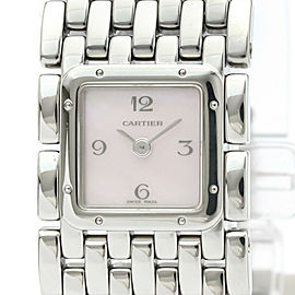 CARTIER Ruban Pink MOP Dial Steel Quartz Ladies Watch W61003T9