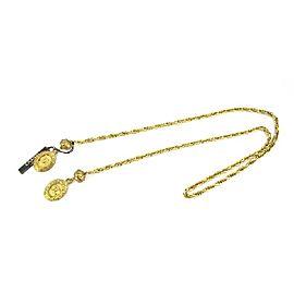 Chanel CC Logo Gold Tone Hardware Medallion Necklace