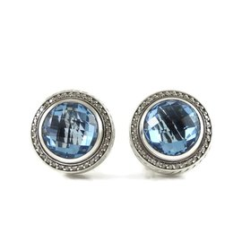 David Yurman Sterling Silver with Blue Topaz and 0.72ct. Diamond Earrings