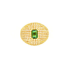 Chaumet Emerald 18K Yellow Gold Emerald Diamond Ring Size 7