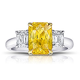 Platinum 18K Yellow Gold 4.07ctw. Sapphire 0.89ctw. Diamond Ring Size 7