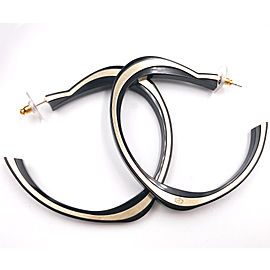 Chanel CC Silver Tone Black Resin Open Heart Crystal Earrings