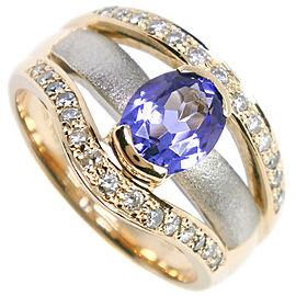 18k yellow gold/Platinum/amethyst Ring