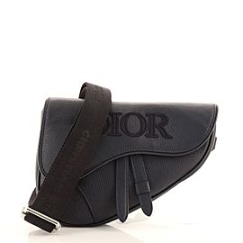 Christian Dior Saddle Crossbody Bag Leather with Logo Applique Mini