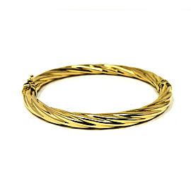 Unoaerre 14K Yellow Gold Spiral Twist Hinged Bangle Bracelet