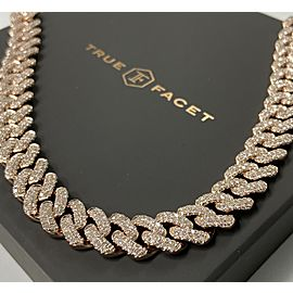 14K Rose Gold Men's 20.37ct Diamond Link Necklace