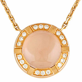Chaumet 18K yellow Gold Diamond Pink Quart Necklace CHAT-745
