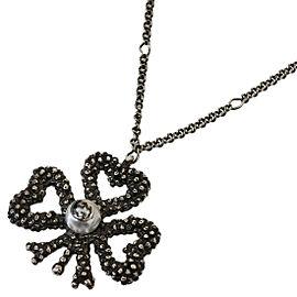 Gucci 925 Sterling Silver Imitation Pearl Design Pendant Necklace
