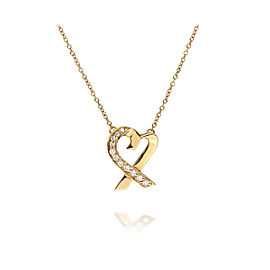 Tiffany & Co. Paloma Picasso 18K Yellow Gold with 0.30ct Diamonds Loving Heart Necklace