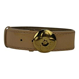 Louis Vuitton Gold Tone Hardware & Leather Bracelet
