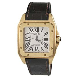 Cartier Santos 100 2657 18K Yellow Gold / Leather Band Automatic 37mm Unisex Watch