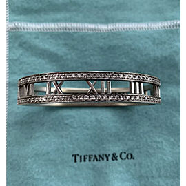 TIffany & Co. Atlas 18k White Gold Diamonds Bangle