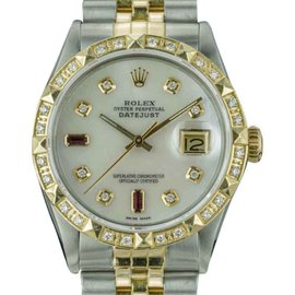 Rolex Datejust 16013 18K Yellow Gold and Stainless Steel with Mother Of Pearl Dial Automatic Vintage 36mm Mens Watch