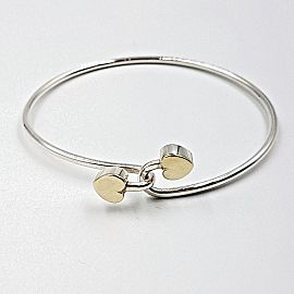 Tiffany & Co Sterling Silver & 18K Gold Double Heart Bangle Bracelet